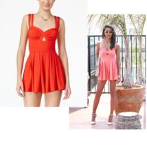 MATERIAL GIRL Juniors' Textured Keyhole Skater Romper, Red NWOT SMALL - $9.68
