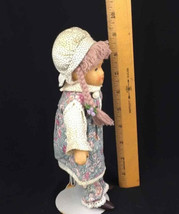 German Tati Doll Handmade Purple Braids Bonnet Traditional Outfit w/Stan... - $16.26