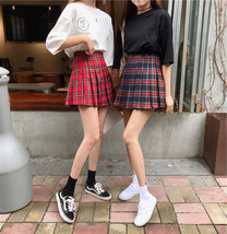 Women Girl Red Plaid Skirt Outfit High Waisted Pleated Red Plaid Skirt Plus Size image 2