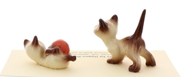 Hagen-Renaker Miniature Cat Figurine Siamese Kittens 2 Piece Set Chocolate Point image 2