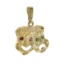14K Yellow Gold Multicolor Cubic Zirconia Theater Mask Charm - $187.11