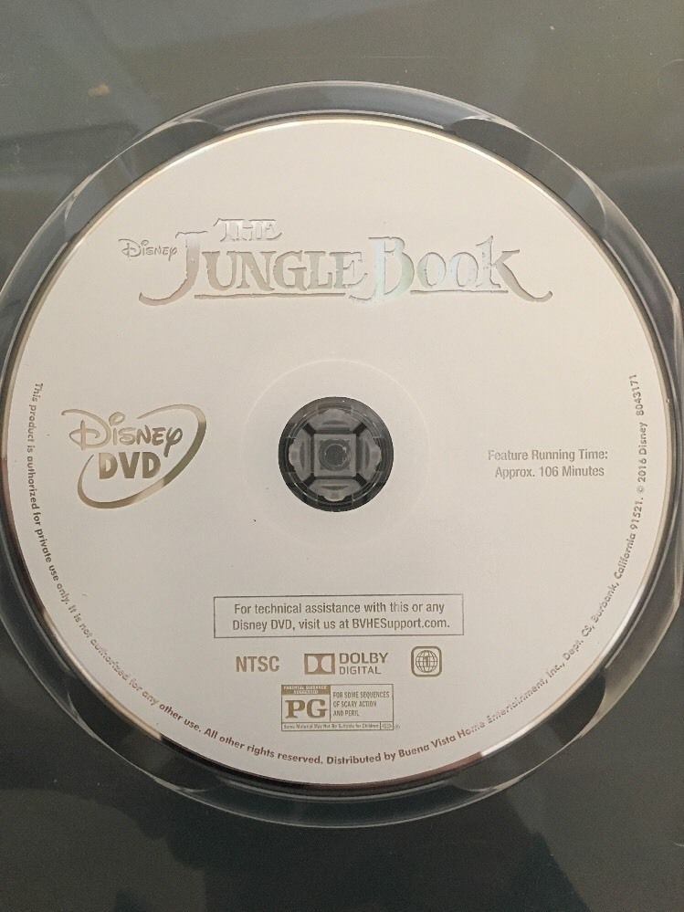 The Jungle Book DVD 2016 Disc Only,Family,Adventure Disney Authentic Lot Of 100