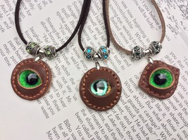 Dragon Eye Leather Necklace with Crystal Beads Made In USA Gifts for Him... - $39.99
