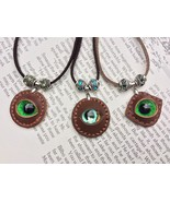 Dragon Eye Leather Necklace with Crystal Beads Made In USA Gifts for Him Or Her - $39.99