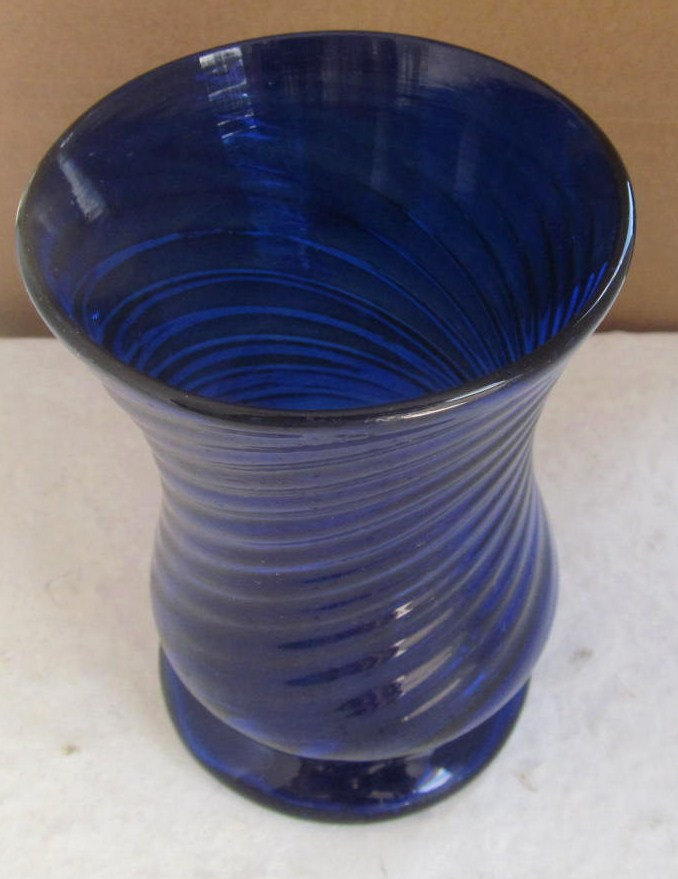 Vintage Cobalt Blue Hand Blown Swirl Design Table Glass with Pontil Base- Italy