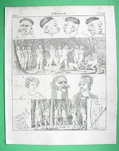 SOUTH AMERICA Natives Botocudo Indians Puri Hawaii - 1825 Antique Print - $21.60