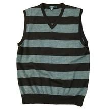 J.Crew Mens Brown Gray Stripe Merino Wool Sleeveless V Neck Sweater Vest M - $25.74