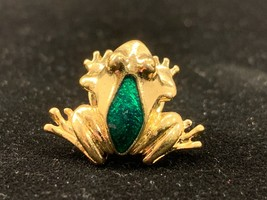 Vintage 1985 Avon Gold Tone Green Frog Tie Tack or Pin Brooch. - $7.50