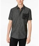 Mens Camo Pocket Shirt American Rag Deep Black Short Sleeve 2XL - $14.80