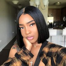 BAOYU Human Hair Wigs Short Bob Lace Front Wig for Black Women Pre Plucked Hairl