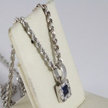 18K WHITE GOLD NECKLACE ROPE CHAIN & SQUARE PENDANT, BLUE ZIRCONIA PRINCESS CUT image 2
