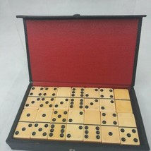 Vintage  Set 28 ct  Butterscotch BAKELITE DOMINOES Leather Case tested - $56.31