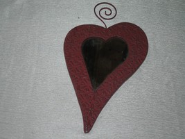 Estate Small Red Painted Metal Tin Heart Shaped Mirror  – 9 and 3/8th's ... - $6.79