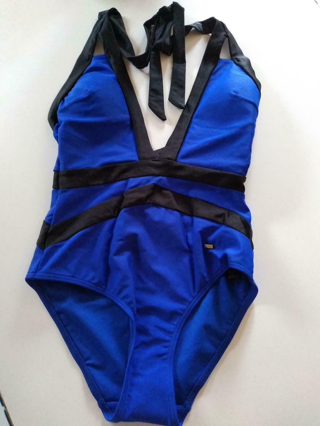 Ted Baker London Bright Blue Triangle Cut Outs One Piece SwimSuit Size 1/XS US