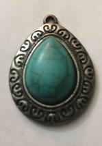 "Vintage Necklace Pendant Teardrop Silver Border W/ Turquoise Stone Center 1 1/2"" - $6.18"