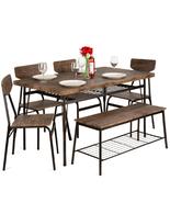 Modern Home Dining Set w/ Storage Racks, Rectangular Table, Bench - $999.99