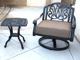 Patio set of 2 cast aluminum 1 swivel club chair and  Elisabeth end table. image 1