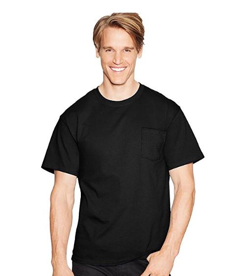 Hanes Tagless Cotton Short Sleeve Crew Neck Pocket Black 2XL