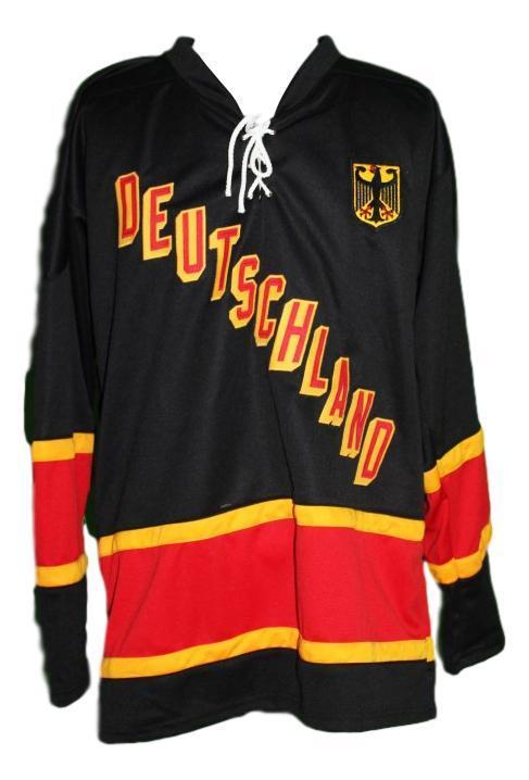Kuhnhackl 34 custom germany retro hockey jersey black   1