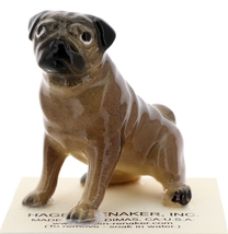 Hagen-Renaker Miniature Ceramic Dog Figurine Pug Fawn Mama Sitting and  Baby Pup image 9