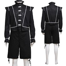 1791's lady Medieval Renaissance Victorian Vintage Costume For Men Black... - $80.69