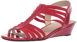 LifeStride Women's Yours Wedge Sandal, Red, 10 W US - $29.41