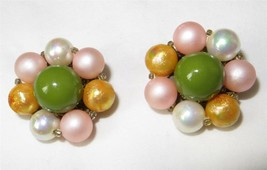 Vintage c1949 Green Pink and Gold Luster Cluster Earrings Signed Japan - $11.08