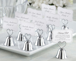 144 Silver Kissing Bell Wedding Place Card Photo Holder w/Braided Heart ... - $172.43