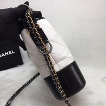 NEW AUTHENTIC CHANEL White Black Quilted Calfskin Medium Gabrielle Hobo Bag  image 3