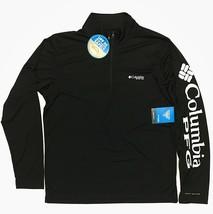 Columbia Men's PFG Deep Waves Quarter Zip Fishing Shirt Black White Long 1/4 - $29.99