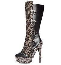 Hades ARIANNA Black Knee Boots Steampunk Victorian Proteus Metallic High Heels - $166.00