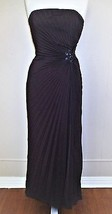 David Meister Evening Gown Dress brown pleated strapless size 2 Ladies - $89.09