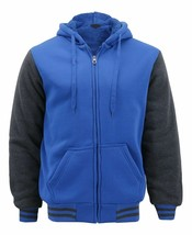 Men's Sports Raglan Jacket Fleece Varsity Button Up Hoodie Sweatshirt w/ Defect