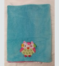 Taggies Owl Baby Blanket Teal Blue Pink Ribbons Tags Girl B350 - $24.99