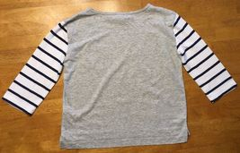 Gap Kids Girl's Gray, Blue & White Striped Pocket Shirt - Size: Medium image 11