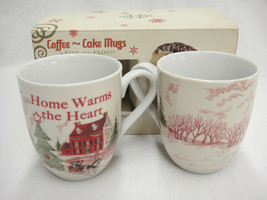 Fitz & Floyd Christmas Chocolate Cake Mugs Set of 2 w Box Home Warms the... - $14.84