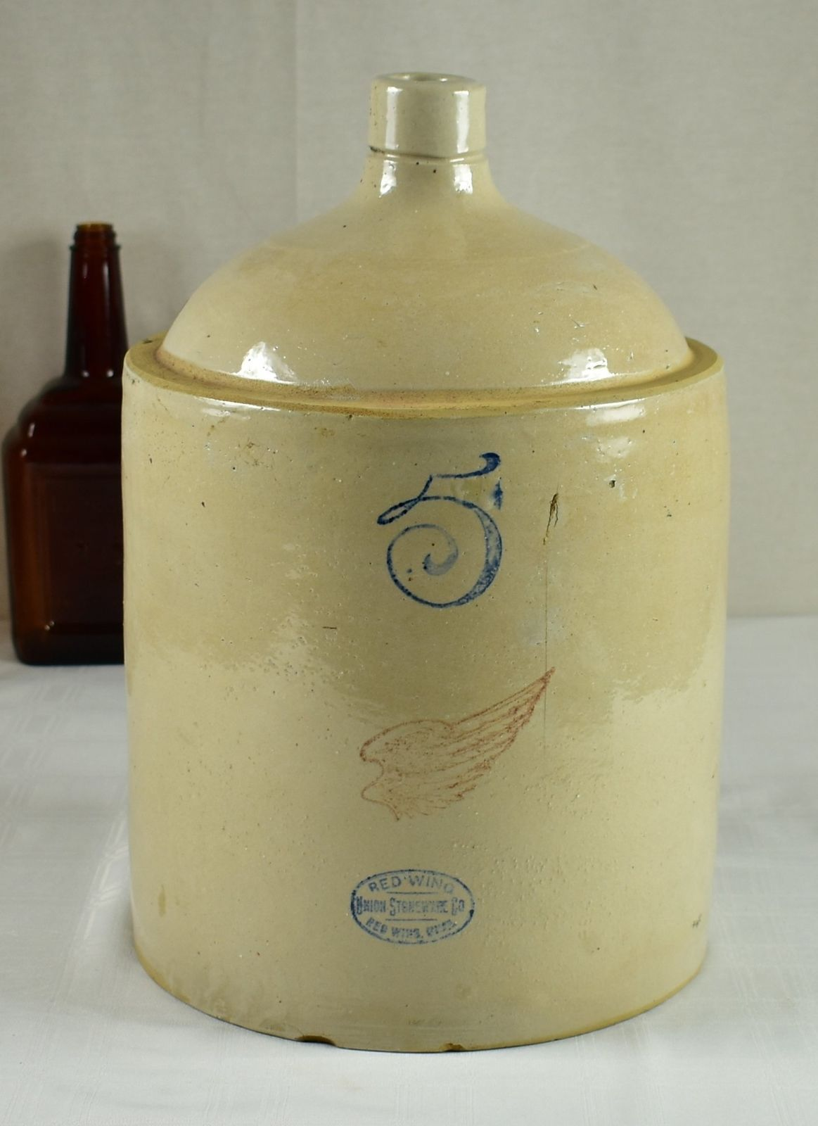 Vintage 5 Gallon Red Wing Pottery Crock ./ Jug - No Cracks!