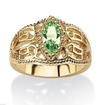 WOMEN MARQUISE CUT 14K GOLD FILIGREE AUGUST PERIDOT BIRTHSTONE RING 5 6 ... - $63.17