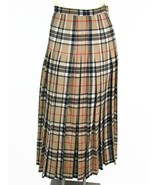 VTG 100% Wool Nova Check Plaid Brown Pleated Skirt Lairds of Scotland sz 8 Small - $79.19