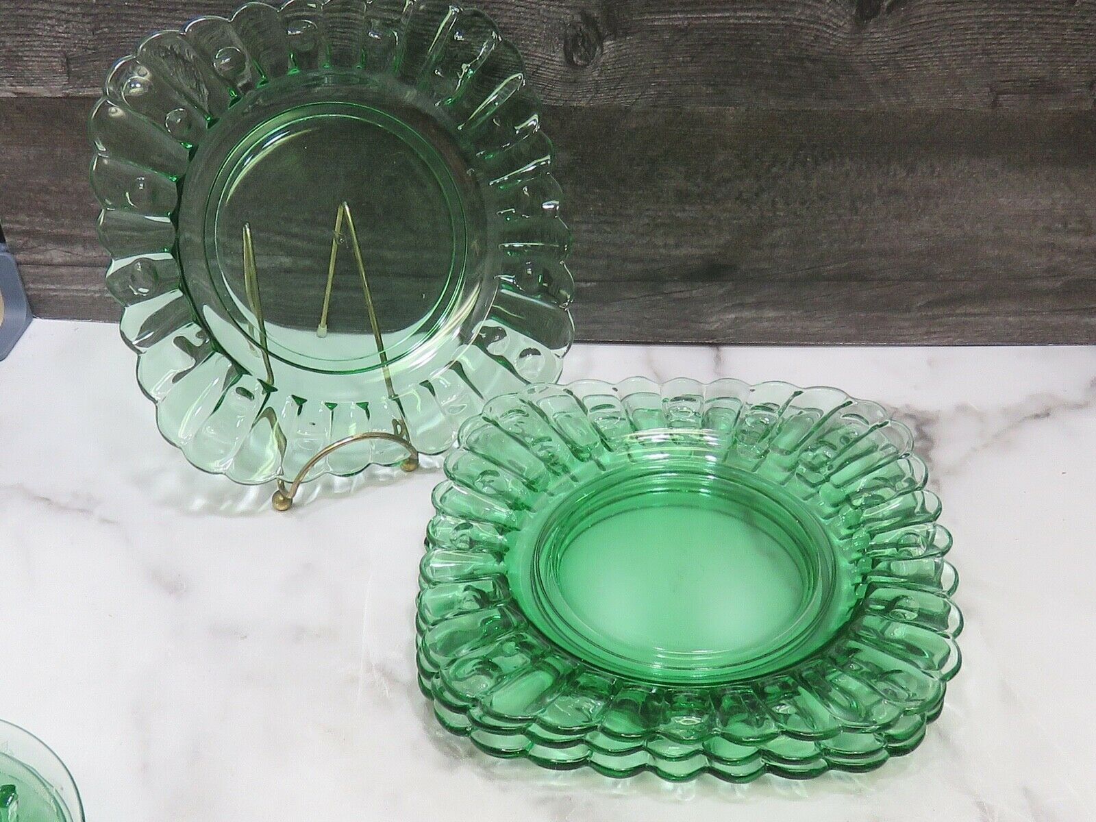 """Set of 4 Heisey Old Sandwich Moongleam Green Square 8 3/8"""" Dessert Lunch Plates - $108.90"""