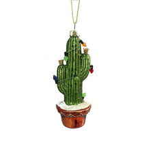 Darice Christmas Glass Ornament: Cactus with Lights, 2 x 5 inches w - $9.99
