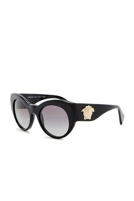 NEW VERSACE Rock Icons 54mm Cat Eye Sunglasses VE4297 Black Gold Medusa Grey