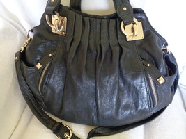 Junior Drake Black Cargo Leather Satchel Shoulder Bag Purse Tote Handbag - $89.99