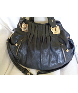 Junior Drake Black Cargo Leather Satchel Shoulder Bag Purse Tote Handbag - $89.99