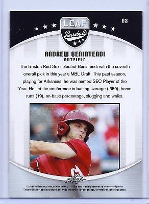 """ANDREW BENINTENDI 2015 LEAF """"GOLD EDITION"""" ROOKIE CARD #03! BOSTON RED SOX!"""