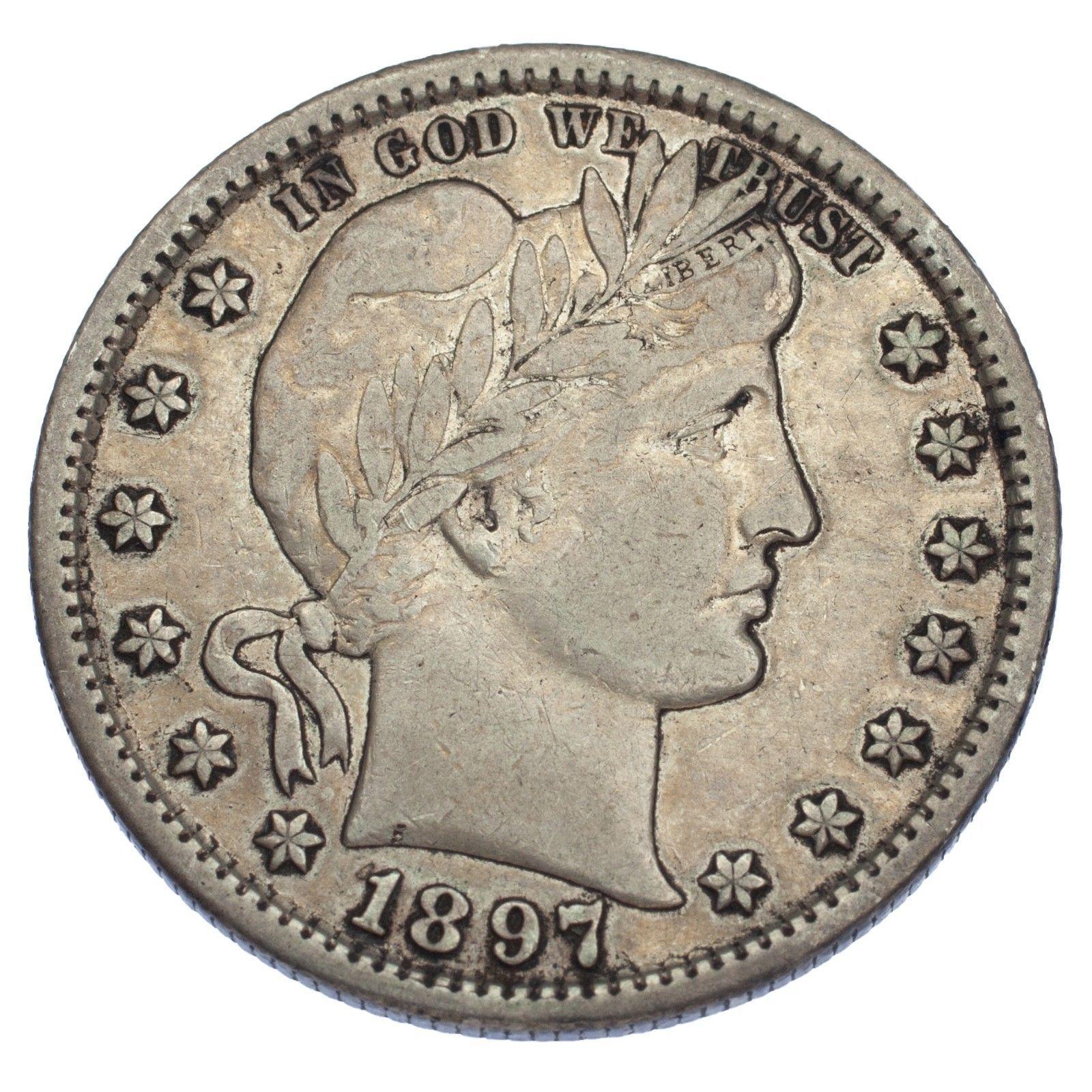 1897-S 25C Barber Quarter (Very Fine, VF Condition) image 2