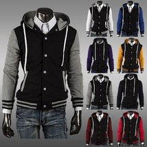 Best Seller Men's New Varsity Letterman Hoodie Baseball Jacket With Hood - $60.18