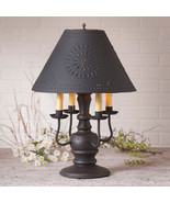 COLONIAL TABLE LAMP with PUNCHED TIN SHADE Distressed Black 3 Light Opti... - $372.95