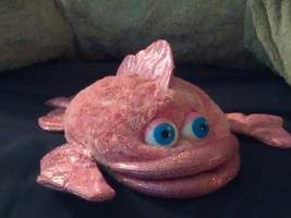 Plush pink hand puppet glitter  fish Aurora World - $8.50