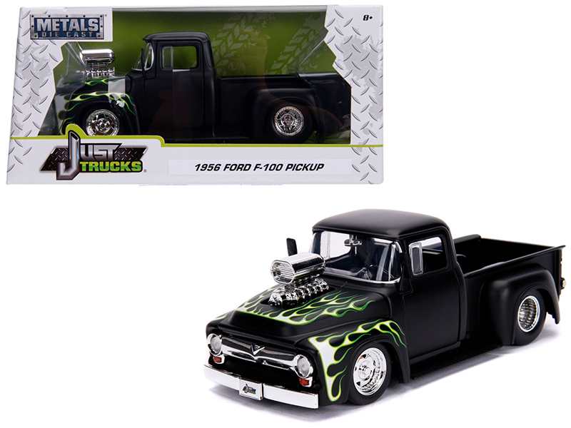 "1956 Ford F-100 Pickup Truck with Blower Matt Black with Flames ""Just Trucks\"""